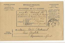 Correspondance Militaire (1915) - Bulletin De Santé Du Creusot à Roquemaure (Gard) - Guerres