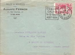 """1924 """"Fêtes De La Mer .Calais"""" Flamme Daguin Sur Yv184 """"Jeux Olympiques Paris"""" - Storia Postale"""