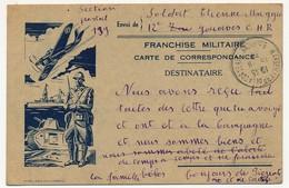 Carte De Franchise Militaire - Edition Privée Marseillaise - Char, Soldat, Bateau, Avion - 1939 - Postmark Collection (Covers)