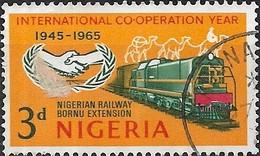 NIGERIA 1965 International Co-operation Year - 3d I.C.Y. Emblem And Diesel-hydraulic Locomotive FU - Nigeria (1961-...)
