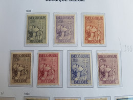 Timbres Belgique N°377 à 383 - 1933 - Neufs - Cote Y&T: 235€ - Neufs