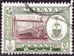 MALAYA JOHORE 1960 $5 Brown & Bronze-Green SG165 Fine Used - Penang