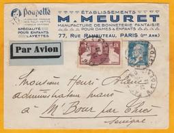 29 Juillet 1932 - Enveloppe Par Avion De Paris, France Vers M'Bour, Sénégal Via Toulouse Et Dakar, Ligne Mermoz - Marcophilie (Lettres)
