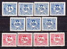 Slovacchia 1941 Segnatasse   Serie Completa Nuova MLLH - Ongebruikt
