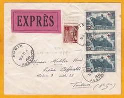 1941 Etat Français - Enveloppe Par EXPRES D' Aubin, Aveyron Vers Toulouse Via Rodez - Cad Transit & Arrivée - 1921-1960: Periodo Moderno