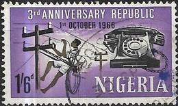 NIGERIA 1966 3rd Anniversary Of Republic - 1s.6d. Telephone Handset And Linesman FU - Nigeria (1961-...)