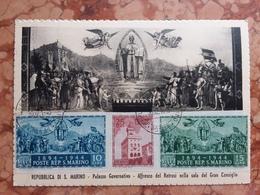 SAN MARINO - Cartolina Maximum Palazzo Governo - Trittito Non Dentellato + Spedizione Prioritaria - San Marino