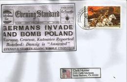 """Invasion De La Pologne.Guerre Déclarée, Illustration De La Une """"Evening Standard"""" 1 Sept.1939 , Lettre Ìles Marshall - Seconda Guerra Mondiale"""
