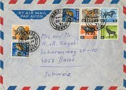 1971 , KENYA , SOBRE CIRCULADO MOMBASA - BASILEA , FR. BÁSICA TEMA FAUNA , MAMÍFEROS - Kenia (1963-...)