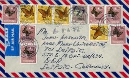 1976 , TANZANIA , SOBRE CIRCULADO MWANZA - BASILEA , INTERESANTE FRANQUEO BÁSICA MARIPOSAS , BUTTERFLIES - Tanzania (1964-...)