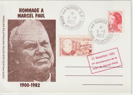 France Vignette Marcel Paul Sur Carte Nantes 1983 - Andere