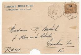 DEVANT D'Enveloppe - Cuirassé Bretagne 1920 - Postmark Collection (Covers)