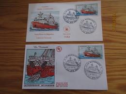 2 Enveloppes Et Une Carte  1er Jour Saint-Pierre Et Miquelon Chalutier La Normande 14 Oct 87 - St.Pierre Et Miquelon