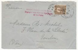 """TUNISIE 1931 - Depuis Ferryville - Griffe """"Grande Marine - Grand Pays / Engagez Vous Dans Les équipages De La Flotte"""" - Marcophilie (Lettres)"""
