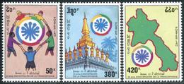 173- Laos 1995  YT 1202A-C ; Mi# 1452-54 **  MNH  Coopération Des Pays Francophones - Laos