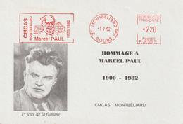 France EMA Marcel Paul Montbéliard 1992 - Storia Postale