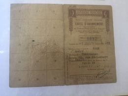 CARTE D'ABONNEMENT AUX EMISSIONS DE TIMBRES POSTE SPECIAUX FRANCAIS AU NOM DE NION ANDRE - Karten