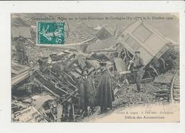 CATASTROPHE DU PAILLAT SUR LA LIGNE ELECTRIQUE DE CERDAGNE 1909 DEBRIS DES AUTOMOTRICES CPA BON ETAT - Railway