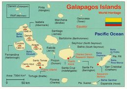1 Map Of Galapagos Islands * 1 Ansichtskarte Mit Der Landkarte Der Galapagos Inseln * - Maps