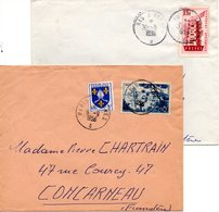 (L91) Ambulant Ferroviaiare Paris-Vannes Brigade A, B, C, D Sur 4 Lettres Vers Concarneau En 1956 - Railway Post