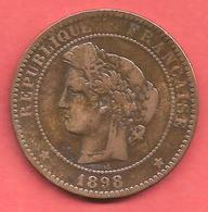 10 Centimes , CERES , Bronze , 1898 A , N° F # 135.45 - France