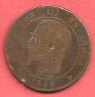 10 Centimes , NAPOLEON III Tête Nue , Bronze , 1855 MN , N° F # 133.29 - France