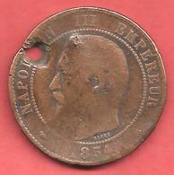 10 Centimes , NAPOLEON III Tête Nue , Bronze , 1854 BB , N° F # 133.12 - France