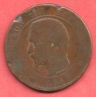 10 Centimes , NAPOLEON III Tête Nue , Bronze , 1853  B , N° F # 133.3 - France