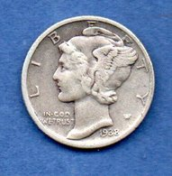 USA -  1 Dime 1938  -  Km # 140  -  état  TB+ - 1916-1945: Mercury (kwik)