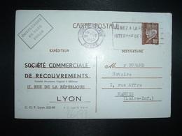 CP EP PETAIN 80c OBL.MEC.20 VIII 1942 LYONN-TERREAUX RHONE (69)SOCIETE COMMERCIALE DE RECOUVREMENTS à DURAND Notaire 44 - Postmark Collection (Covers)