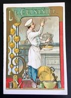 Cambrai Boulangère Cuisinier Cuisine Fourneau Sablier Ustensiles Cuivre Chromo Didactique Art Nouveau Vitrail Dorée - Trade Cards