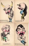 Illustrateur J Fardy, Humour Caricature X 4 Cocu Corné Cochon Ivrogne Gateux - Künstlerkarten