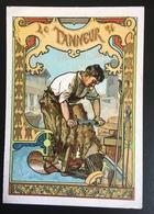 Cambrai Boulangère Métier Tanneur Peau Eau Chaux Chromo Didactique Art Nouveau Vitrail Dorée - Trade Cards