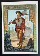Cambrai Boulangère Métier Mineur Mine Charbon Houille Grisou Chromo Didactique Art Nouveau Vitrail Dorée - Trade Cards