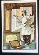 Cambrai Boulangère Métier Peintre Décorateur échelle Plâtre Chromo Didactique Art Nouveau Vitrail Dorée - Trade Cards