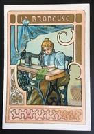 Cambrai Boulangère Métier Brodeuse Machine à Broder Coudre  Chromo Didactique Art Nouveau Vitrail Dorée - Trade Cards