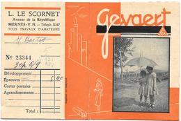 Ancienne POCHETTE Publicitaire Vide NEGATIFS PHOTOS GEVAERT -9.5x12.5 - L.LE SCORNET à MEKNES -Fillettes Sous Un Paraplu - Photographie