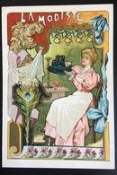 Cambrai Boulangère Métier Modiste Chapeau Paille Plume Paon   Chromo Didactique Art Nouveau Vitrail Dorée - Trade Cards