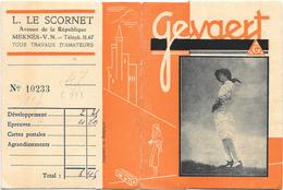 Ancienne POCHETTE Publicitaire Vide NEGATIFS PHOTOS GEVAERT -9.5x12.5 - L.LE SCORNET à MEKNES - Femme Au Chapeau - Fotografia