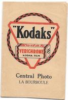 Ancienne POCHETTE Publicitaire Vide NEGATIFS PHOTOS KODAKS -7.5 X 11 - CENTRAL PHOTO à LA BOURBOULE - Other