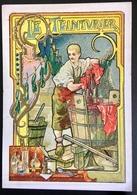 Cambrai Boulangère Métier Teinturier Cuve Chaudron Alcool Benzine Chromo Didactique Art Nouveau Vitrail Dorée - Trade Cards