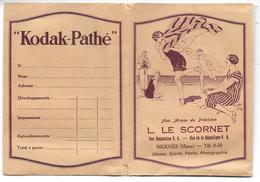 Ancienne POCHETTE Publicitaire Vide NEGATIFS PHOTOS KODAK PATHE - L.LE SCORNET à MEKNES Aux Armes De Précision - Other