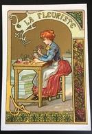 Cambrai Boulangère Métier Fleurs Fleuriste Escabeau  Chromo Didactique Art Nouveau Vitrail Dorée - Trade Cards