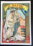 Cambrai Boulangère Métier Bâtiment Maçon Fil Plomb Truelle  Chromo Didactique Art Nouveau Vitrail Dorée - Trade Cards