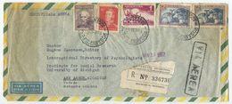 Argentina 1957 Registered Airmail Cover Rosario To Ann Arbor MI - Argentina
