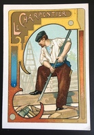 Cambrai Boulangère Métier Bâtiment Charpentier  Chromo Didactique Art Nouveau Vitrail Dorée - Trade Cards