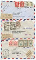 Argentina 1956 3 Registered Airmail Covers To Ann Arbor Michigan, Mix Of Stamps - Argentina