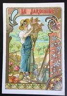 Cambrai Boulangère Métier Jardinier Sécateur Rosier Chromo Didactique Art Nouveau Vitrail Dorée - Trade Cards