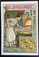 Cambrai Boulangère Métier Boulanger Pain Four Blé Coquelicot Chromo Didactique Art Nouveau Vitrail Dorée - Trade Cards