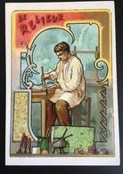 Cambrai Boulangère Métier Livre Relieur  Chromo Didactique Art Nouveau Vitrail Dorée - Trade Cards